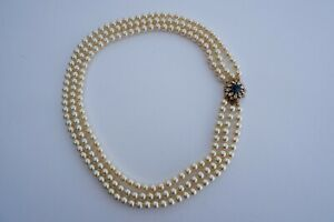 VINTAGE SIDE CLASP 3 ROW CREAM LUSTER FAUX PEARL NECKLACE  - C1970'S, SUPERB!