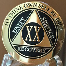 20 Year AA Medallion Black Gold Plated Bi-Plate Alcoholics Anonymous Chip Coin