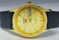 SEIKO5 AUTOMATIC MEN,S GOLD PLATED VINTAGE GOLD DIAL MADE JAPAN WATCH RUN