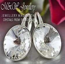 925 Silver Earrings Crystals from Swarovski® 14mm OVAL RIVOLI - Crystal F