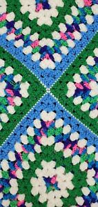 Vtg Blue Pink HANDMADE CROCHET BLANKET KNITTED THROW Square floral Alicia Brown