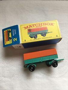 Vtg MATCHBOX Lesney #2 MERCEDES TRAILER - In Original Box 1/64 Minty - NPW