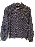 Sportscraft Size 14 Vintage Button Up Long Sleeve Collared Blouse Top Shirt