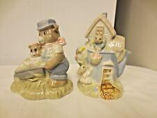 Lot 2 Gloss Finish Animal Figurines-Teapot house/Rabbits &am 00004000 p; Wheelbarrow w/Bears