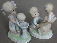 Girl w little Brother and Boy w little Sister Porcelain Figurines HOMCO 1406 NOS