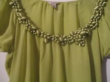 100% Silk TED BAKER asymmetric lime green blouse size2