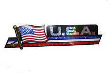 USA  LONG COUNTRY FLAG  METALLIC BUMPER STICKER DECAL .. 11.75 X 3 INCH