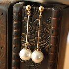Boucles d'Oreilles Doré Clous Fin Long Pendant Perle Vintage Leger Mariage CC 7