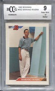 MARIANO RIVERA BCCG 9 1992 BOWMAN BASEBALL #302 ROOKIE YANKEES RC 2076
