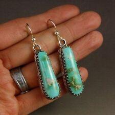 Women Boho Turquoise Gemstone Silver Drop Dangle Earrings Engagement Wedding