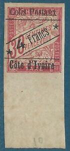 Côte d'Ivoire Colis postaux N°10 Timbre-taxe colonies 30c surchargé neuf avec ch