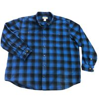Duluth Trading Co Free Swingin Wicking Flannel Mens 2XL Blue Plaid Button Shirt