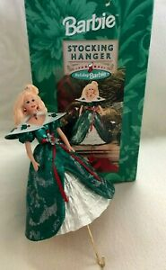 Holiday BARBIE STOCKING HOLDER Hanger HALLMARK 1996 Holly Berry Gown Red Jewelry