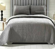 GRAY RUCHED ** King ** QUILT SET : ROCHELLE STEEL GREY RUFFLE SHABBY COTTAGE