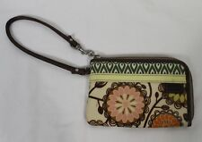 Fossil Key Per Coated Canvas Wristlet Wallet Zip Green Cream Floral