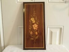 Vintage Italian Inlaid Marquetry Wood Wall Plaque Floral Design