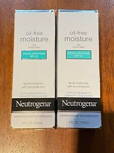 LOT OF 2 - Neutrogena Oil-free Moisture with Sunscreen SPF 15 4Oz Each Exp 2022