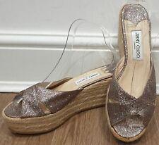 JIMMY CHOO Multi Colour Glitter Espadrille Platform Wedge Sandals Shoes NEW!