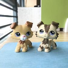 2*Lps Littlest Pet Shop #2210#2452 Tan Brown Collie Dog Blue Eyes Puppy Kid Gift