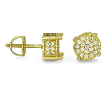 Mens Hip Hop 14k Gold Plated Cz Iced Out Stud Round Screw Back Earrings