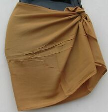 Pareo-New  Solid Tan Color Mini Sarong Lava Lava Cover Up with no fringe