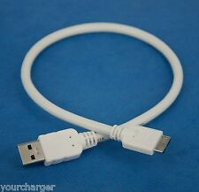 1ft 30cm SHORT Micro USB 3.0 Data Charger Cable WHITE for Samsung Galaxy S5 G900