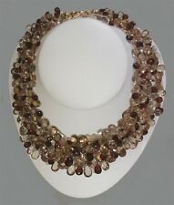 Lady's Three Strands of Faceted Flat Briolette Cut Garnet and Quartz Necklace
