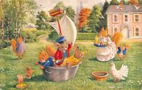 "Racey Helps Fantasy~""Ship Ahoy"" Dressed Animals~Washtub in Yard~Overboard~Medici"