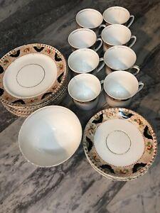 Staffordshire China Tea/Dinner Set Cobalt Art Deco Doric Chintzy Afternoon Tea