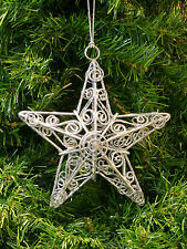 SILVER GLITTER FILIGREE METALCRAFT WIRE 5 POINTED 3D 3-D STAR CHRISTMAS ORNAMENT