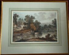Early English Watercolour c1820 Extensive Rural River Landscape