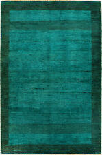 Persian Handmade Fine Gabbeh Turquoise Rug 4'.5''x 3'.11'' foot