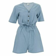 Women's Jacqueline de Yong Billy Life V Neck Short Sleeve Playsuit in Blue