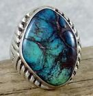 35g HUGE Vintage Navajo Sterling Silver & SMOKY BISBEE Turquoise Mens Ring Sz 12