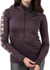 Under Armour ColdGear Womens Running Top Purple Graphic Long Sleeve Half Zip