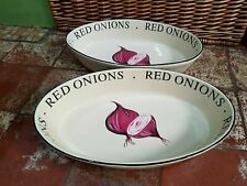 2 RAYWARE MARKET GARDEN LARGE OVAL ROASTING SERVING DISHES