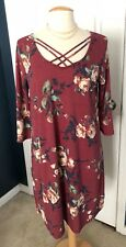 Gilli Tunic Short Dress, Maroon with Roses, Large, New