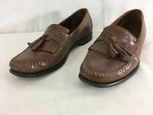 Johnston & Murphy Mens 10 M Brown Indian Leather Tassel Loafers