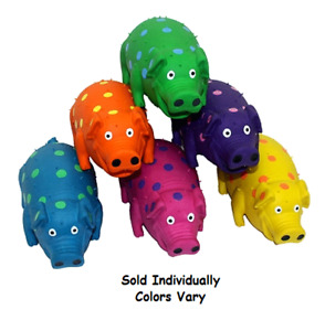 """Small Dog Toys Mini Globet Polka Dot Pigs Latex Honking Squeakers 3"""" Colors Vary"""