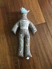 "Original Dammit Doll Brand Brown Paisley Floral Blue Hair 13"" Stress Reliever"