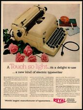 1954 ROYAL White Portable Typewriter - Roses - Office - Original VINTAGE AD