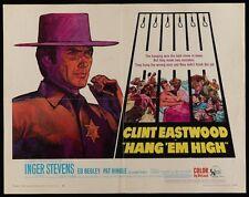 HANG 'EM HIGH half sheet movie poster 22x28 CLINT EASTWOOD WESTERN RARE KOSSIN