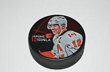 JAROME IGINLA Calgary Flames PLAYER PHOTO PUCK 2013 NEW #12 Souvenir In Glas Co.