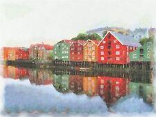 Pintura Abstracta Noruega Asamblea reflejan Cool de arte cartel impresión Casa imagen bb233a