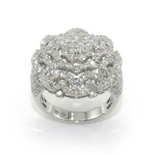 3.25 TCW Round Diamonds Dome Flower Ring In Solid 18k White Gold Size 7