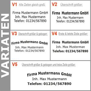 3. Zeilen Aufkleber Beschriftung 50-170cm Werbung Sticker Werbebeschriftung KfZ