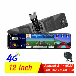 """12""""Full Touch IPS 4G wifi Car DVR Camera Android dash cam smart rearview mirror"""