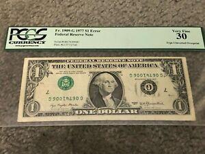 $1 1977 Federal Reserve Note Inverted Overprint Error