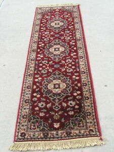"Vintage Oriental Design Belgium Worsted Wool Area Rug Runner Soak Washed 24""x92"""