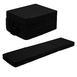 Black Fold Out Z Bed Cube Sleepover Guest Mattress Futon Chair Bed Adults Kids